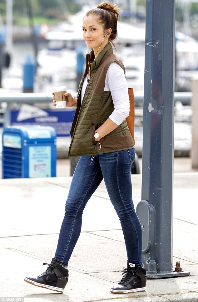 Busy at work: According to Us Weekly, the couple split due to work commitments. Minka is pictured here on the set of her TV show Almost Human in September