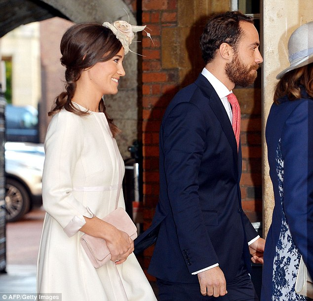 Siblings: Pippa and James Middleton follow their mother as they arrive at Chapel Royal in St James's Palace