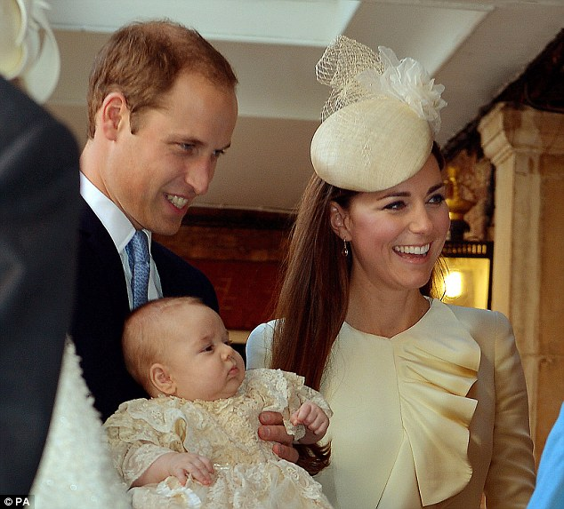 Relaxed affair: The Duke and Duchess of Cambridge smiled throughout the ceremony, while the circumspect baby prince appeared to follow proceedings with interest