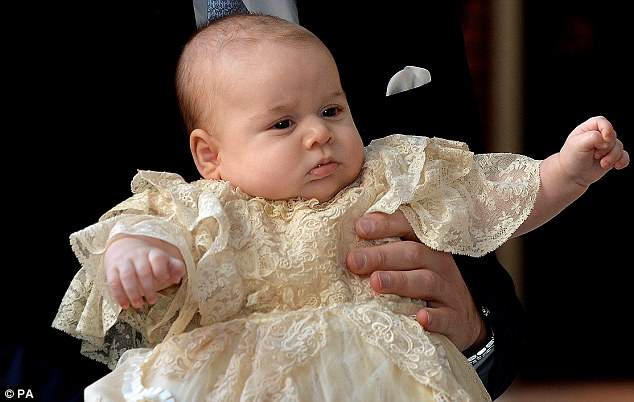 Future king: The three month old Prince George, at Chapel Royal in St James's Palace, before the ceremony began