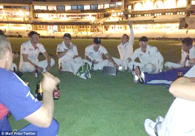 Celebrations: England had beers on the Oval pitch after their series victory but then some players urinated on the strip