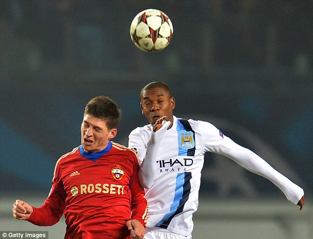 Job done: But Fernandinho and City managed to take all three points in Moscow on Wednesday night