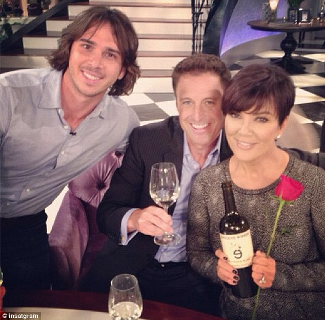 He gave her a rose: Ben appeared on Kris' talk show with Bachelor host Chris Harrison