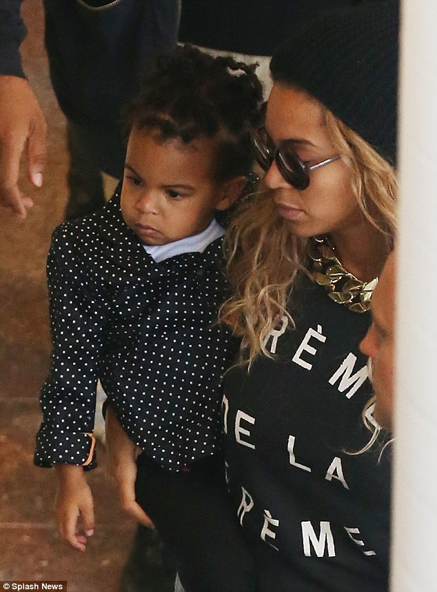 Spot on! baby Blue Ivy arrived in mini polka dots as she arrived in Australia for the first time
