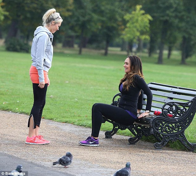 Feeling the burn: Tamara and Nell still find time to have fun during their work-out