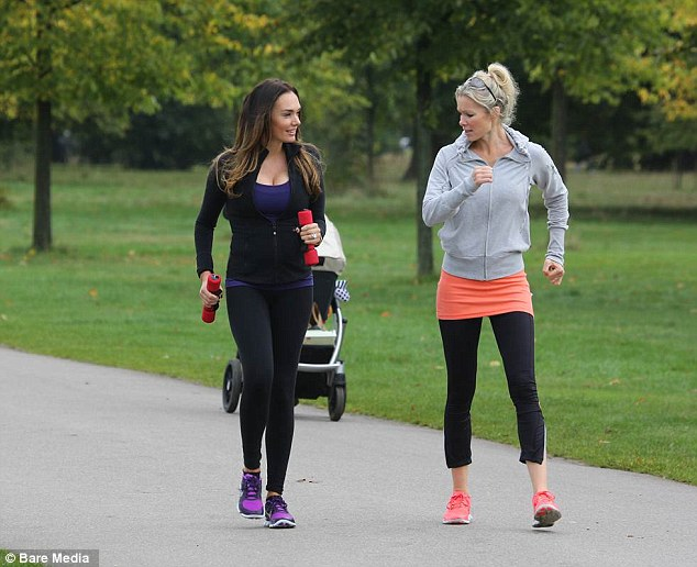 Power walking: Followed by a pram, he two are likely to have bonded over being mothers