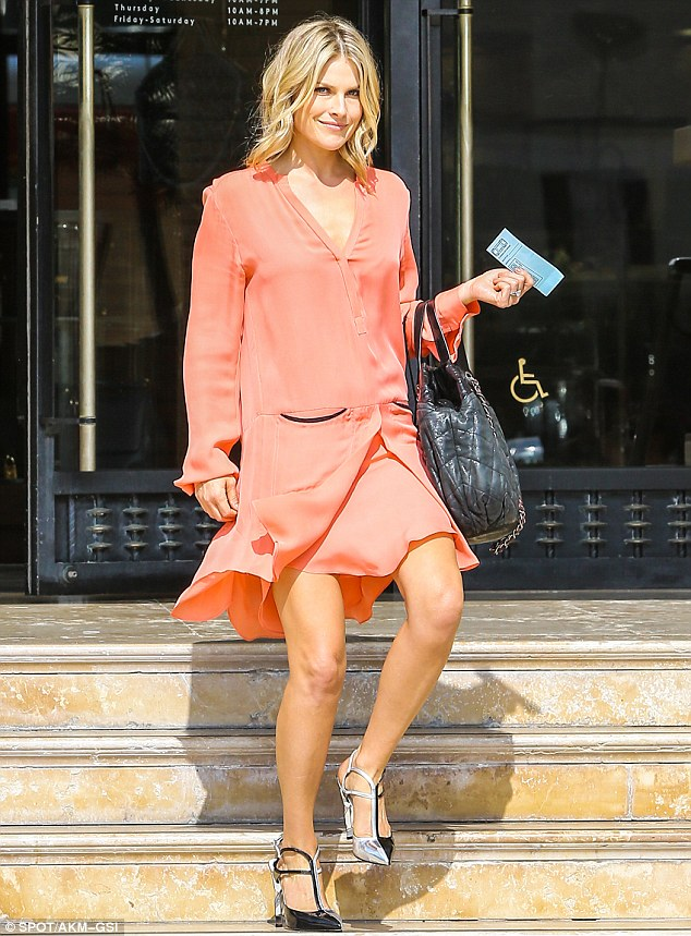 Floaty flare: Ali Larter looked elegant on a shopping trip to Barneys New York in Beverly Hills on Friday