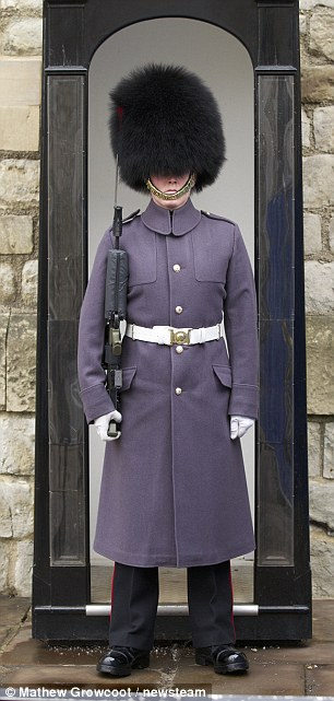 Uniform: There's a Parade Trench (L), inspired by the guardsmen's overcoats at the Tower of London (R)