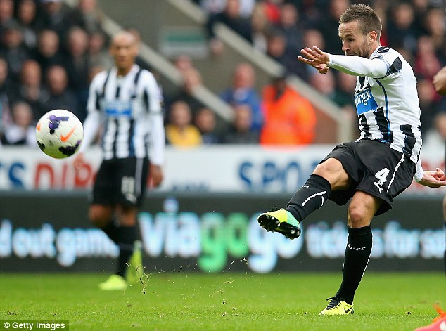 Record-breaker: Yohan Cabaye becomes the 13th consecutive Frenchman to score for Newcastle United during their 2-2 draw with Liverpool