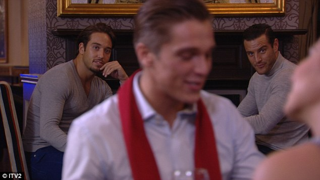 Keeping an eye: Elliot and James are seen watching as Lewis takes Sam on a a date