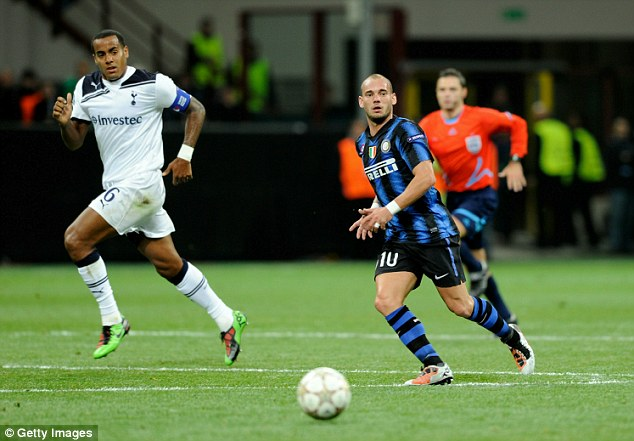 Proud moment: Huddlestone captained Spurs during their 4-3 loss to Inter Milan in the Champions League