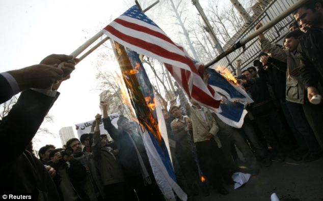 Hatred: Hardline Iranians often chant 'death to America' and burn US flags