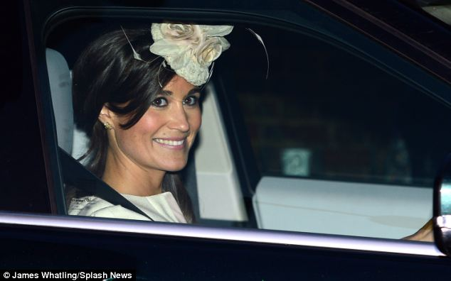 Auntie: Supporting her sister during the ceremony was Pippa Middleton, pictured leaving Kensington Palace after the celebrations ended