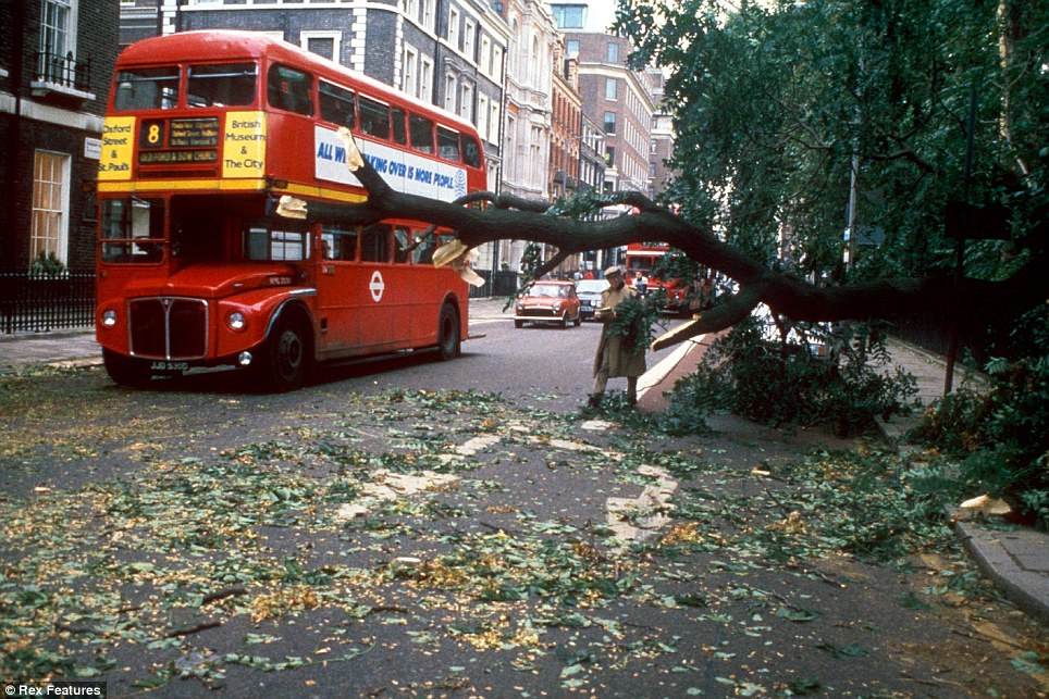 Business as usual: A Routemaster driving through the streets of London after the strong winds