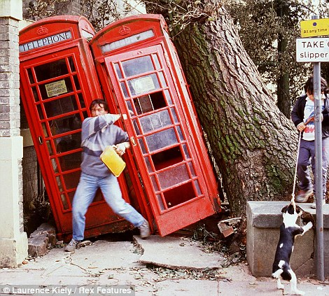 Knocked over telephone boxes