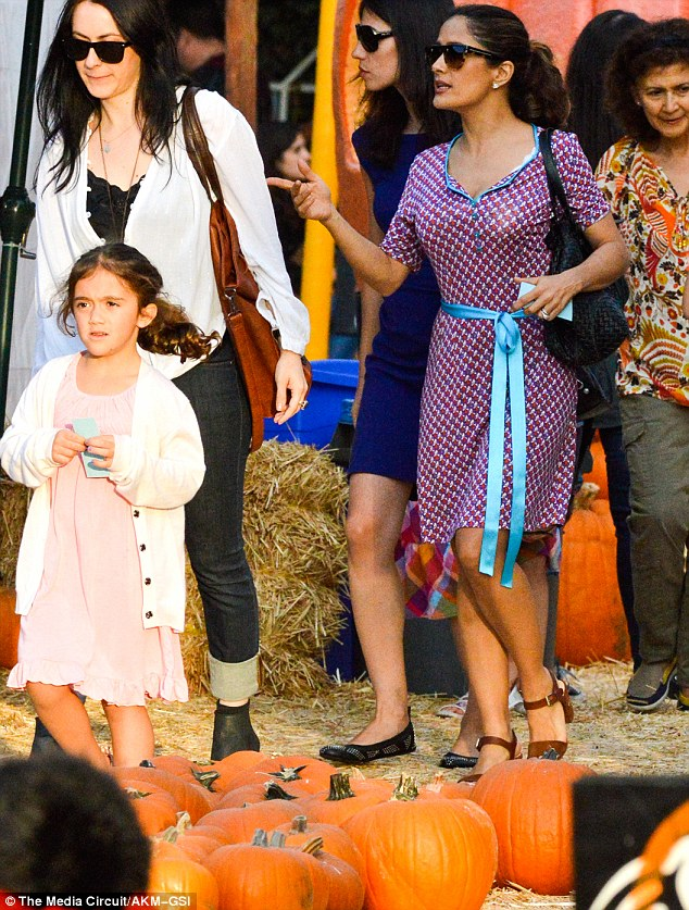 Patch it up: Salma Hayek and her six-year-old daughter Valentina also hit up Mr. Bones on Saturday