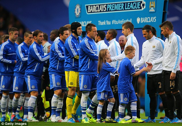 Rivalry renewed: Chelsea and Manchester City shakes hands prior to kick-off