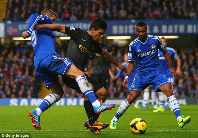 Sandwiched: Sergio Aguero finds himself in the middle of Fernando Torres (left) and Ashley Cole