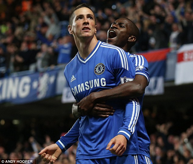Time to celebrate: Ramires joins Torres to mark Chelsea taking the lead