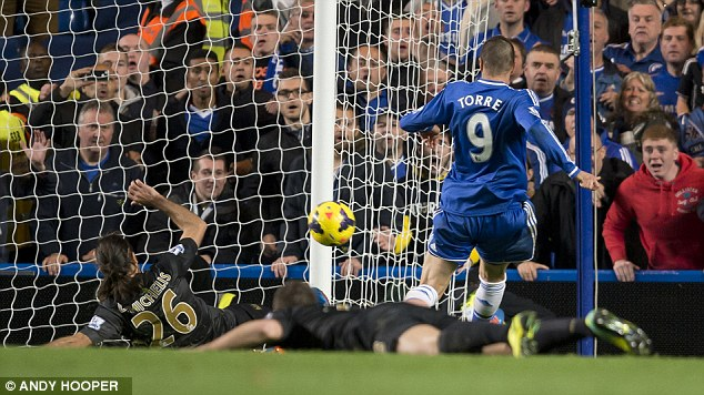 Matchwinner: Torres' late goal secured a last-gasp victory for Chelsea