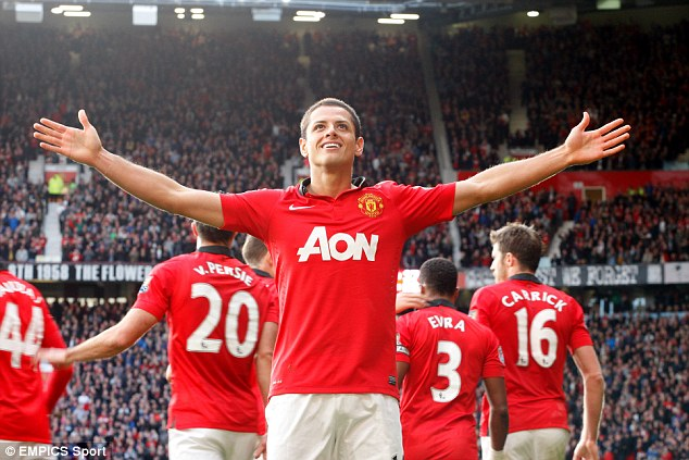 Super sub: Manchester United's Javier Hernandez celebrates scoring the winner against Stoke