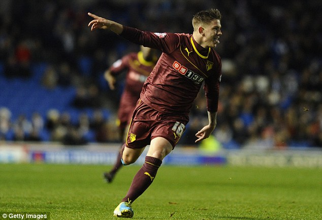 Opener: Sean Murray wheels away to celebrate after putting Watford ahead against Brighton on Monday night