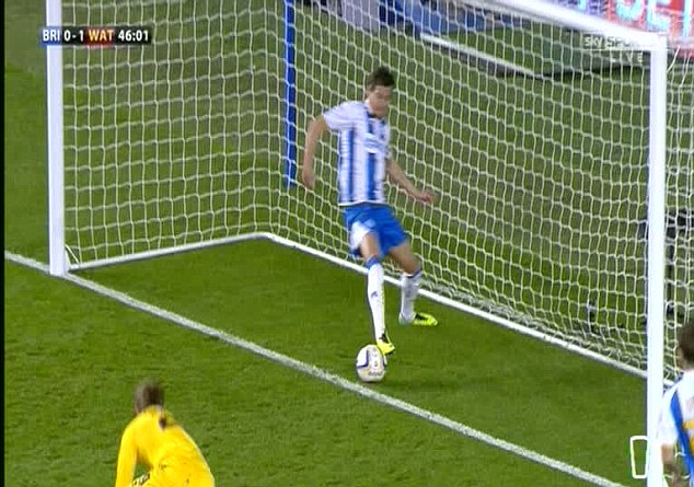 Should have been given: The ball is clearly over the line as Brighton defender Gordon Greer clears it