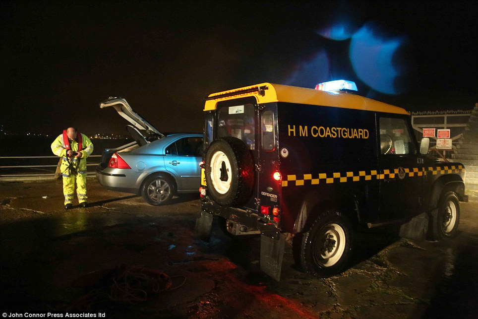 Tricky task: A Maritime and Coastguard Agency spokesman said that rescue teams struggled in difficult conditions in Newhaven, East Sussex