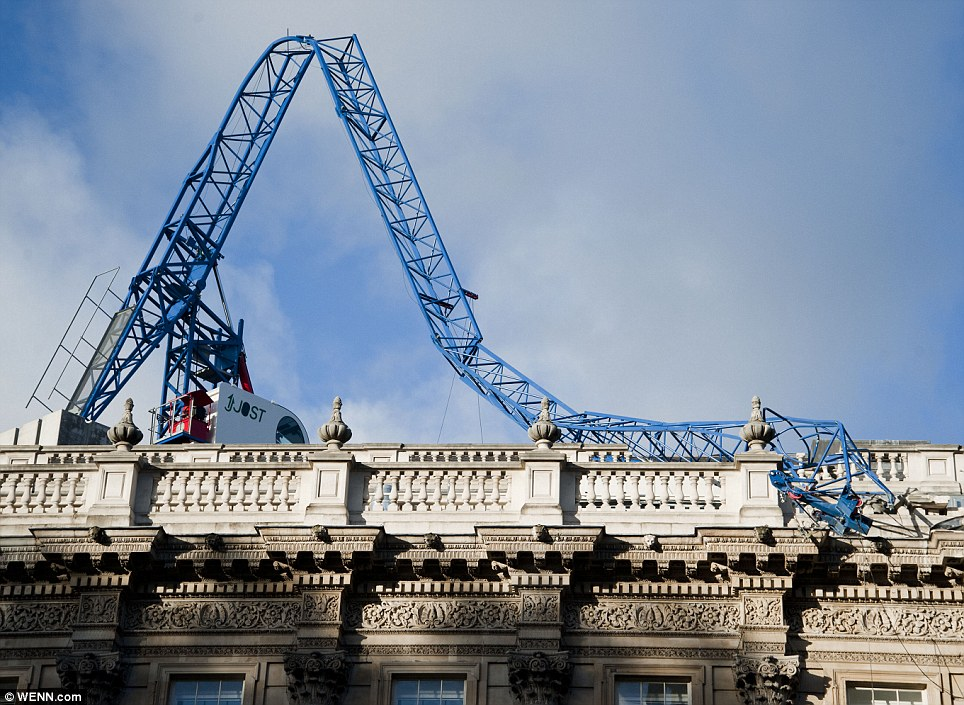 Twisted metal: A crane above Downing Street collapsed onto the roof of the Cabinet Office
