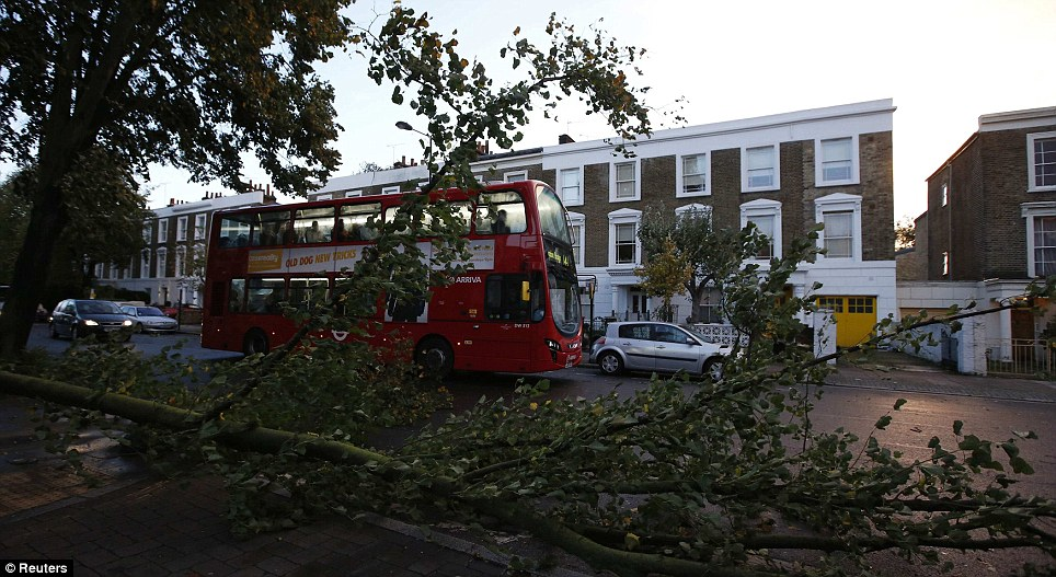 A bus travels past fallen trees in Islington, north London. Emergency staff say they were called out numerous times for people injured by falling branches and debris
