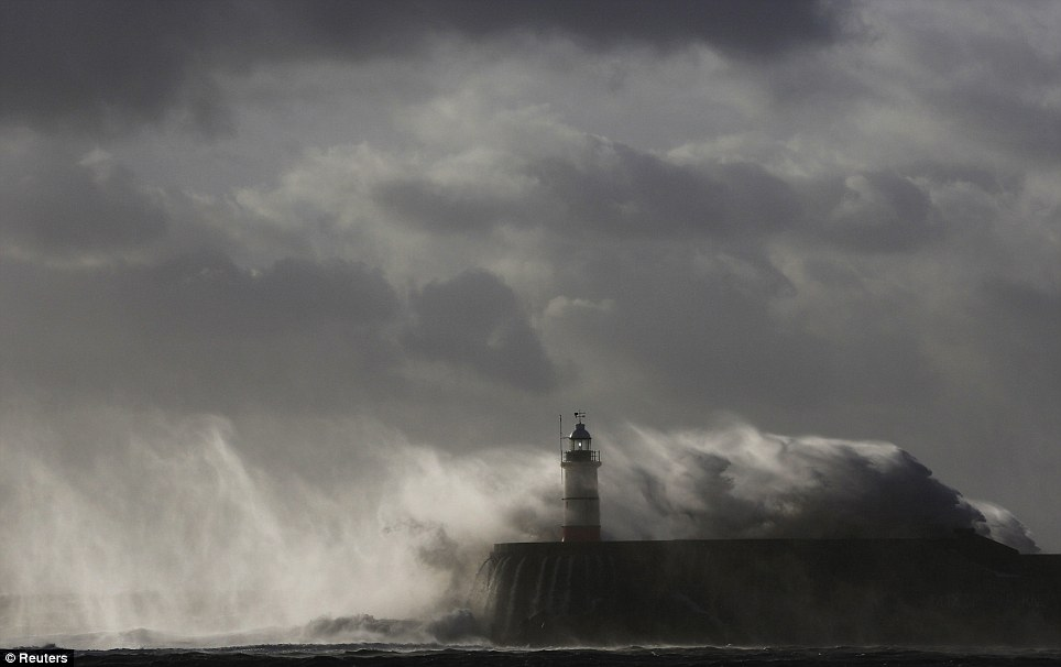 Police said rescuers were forced to call off a search for a 14-year-old boy late on Sunday due to the pounding waves, whipped up by the rising wind in Newhaven