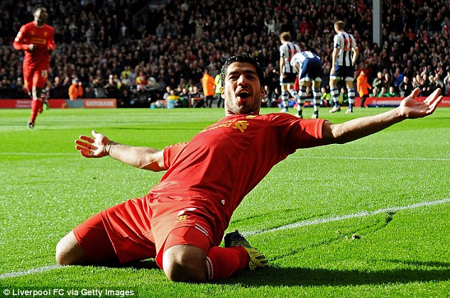 King of the Kop: Luis Suarez scored a hat-trick, with a brilliant opener as Liverpool beat West Brom