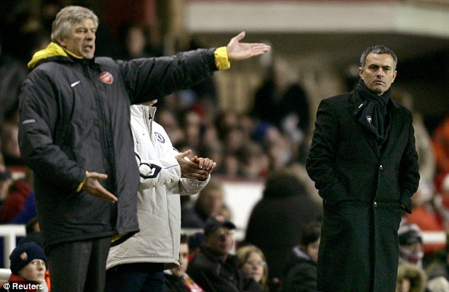 Enemies: In 2005, Mourinho called Wenger a 'voyeur' but the pair have since patched up their differences