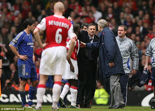 Not the best of friends: Mourinho came out on top against Wenger in the 2007 Carling Cup final