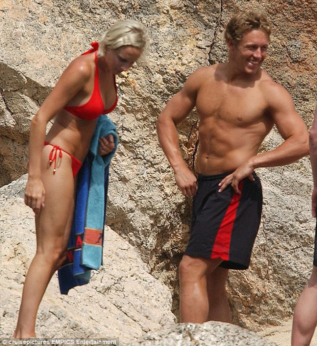 Beaming: Wilkinson met Shelley, pictured here on holiday in Majorca, when she was a cocktail waitress in the Spanish resort of Magaluf