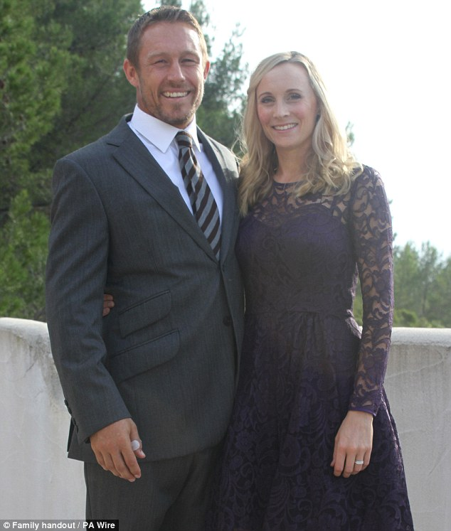 Happy couple: Jonny Wilkinson, 34, and his wife Shelley Jenkins, 33, were married in a private ceremony
