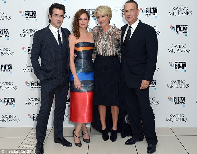Up four it: Colin with his Saving Mr. Banks co-stars Ruth Wilson, Emma Thompson and Tom Hanks at the film's British premiere at the Odeon Leicester Square on October 20 in London