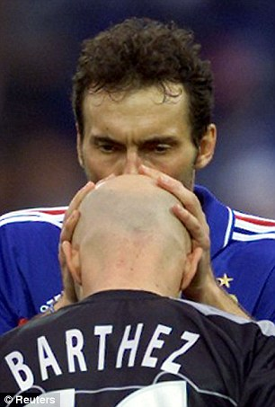 Sealed with a kiss: Laurent Blanc used to plant a smacker on Barthez's head before each France game