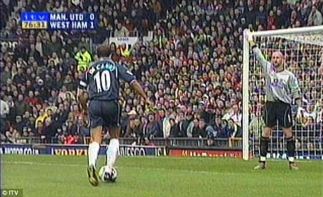 Low moment: Barthez appeals for offside in vain in 2001 as Paolo Di Canio scores the winner in an FA Cup tie
