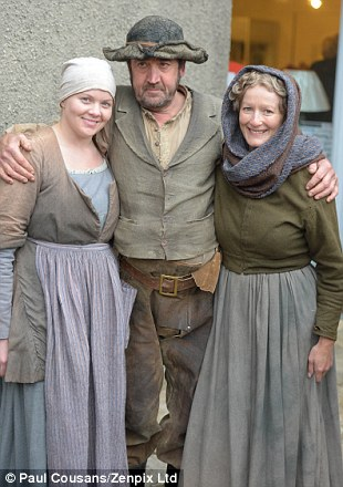 Philip Svejnoha with Jannett Forrest and Sarah Brown(left from manchester) pose on the set of the drama