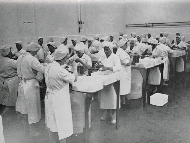 1964: A huge team of food workers in this east London factory in Stepney break eggs for pasteurisation to reduce the risk of food poisoning