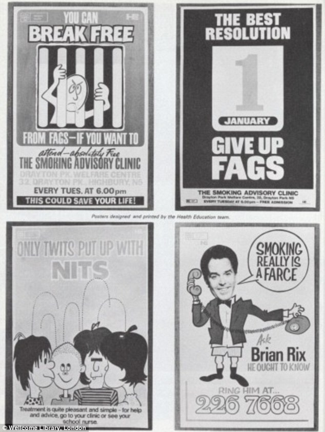 1974: Public health posters used to encourage people to give up smoking or to eradicate head lice among young children