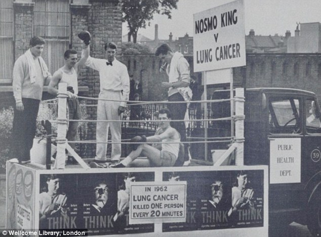 1963: This friends of Fulham Hospital carnival float was driven through the streets to champion the fight against lung cancer, and carried a boxing ring with variety star Nosmo King knocking out an actor playing Lung Cancer