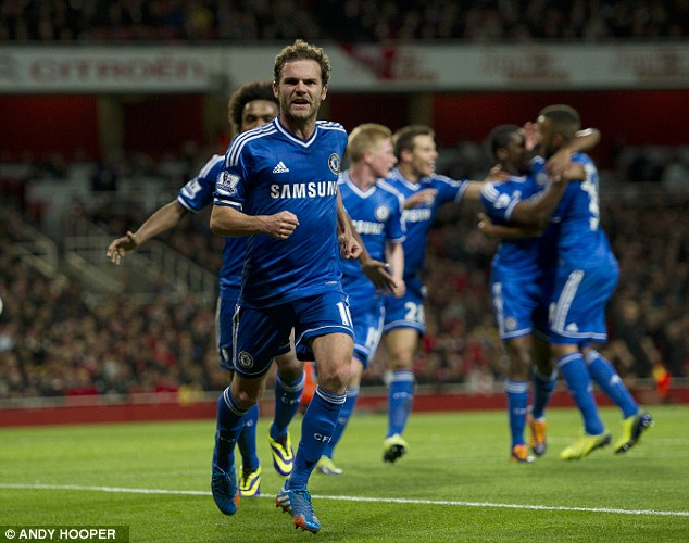 Easy does it:  Mata scores the second goal for Chelsea