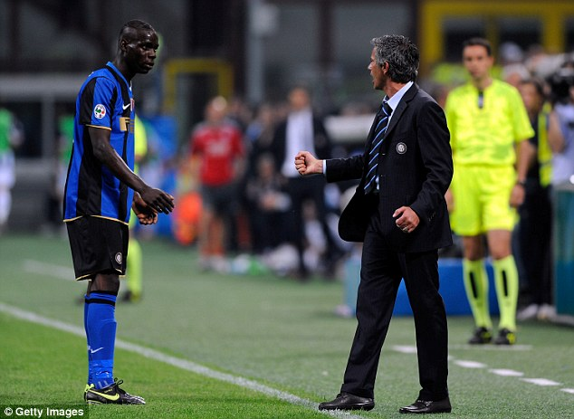 Personality clash? Balotelli found himself down Inter's pecking order under Mourinho