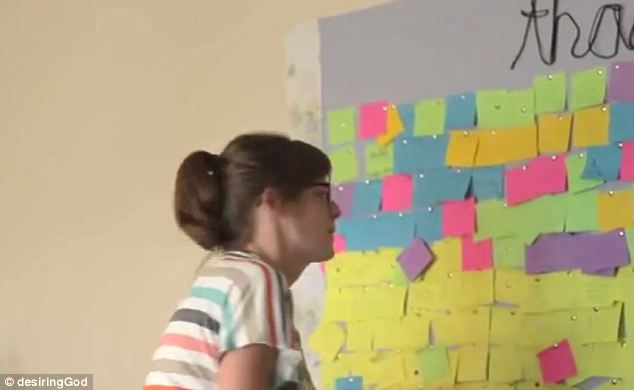 Touching: Larissa keeps a board in their home on which she and Ian and their visitors post what their thankful for. Larissa says half of Ian's say 'my wifey'