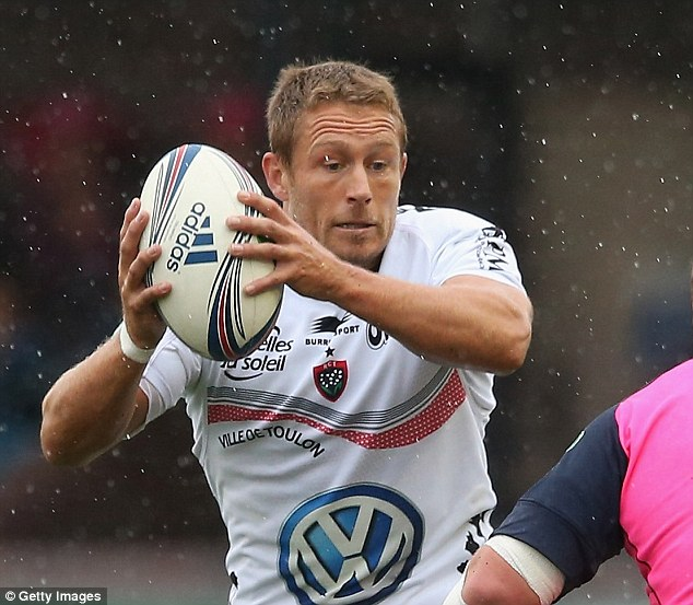 In action: Wilkinson decided to get married close to Toulon, where he now plays his rugby. The fly-half was in action last week when his team played in the Heineken Cup against Cardiff