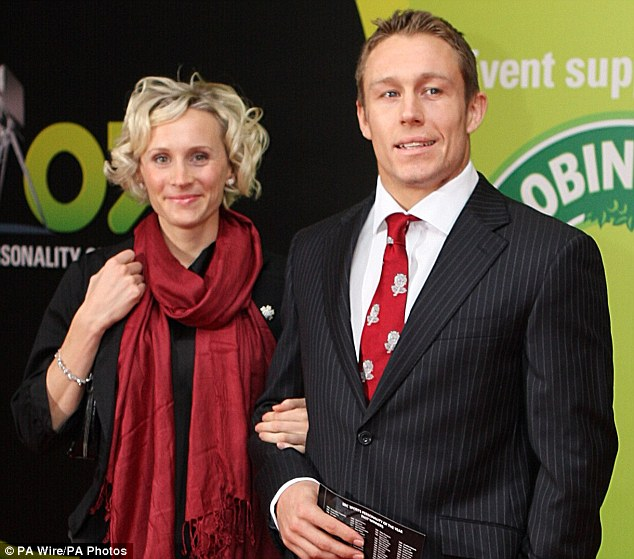 High profile: Shelley stepped out with the rugby star when he was nominated for a Sports Personality of the Year award in 2007, above