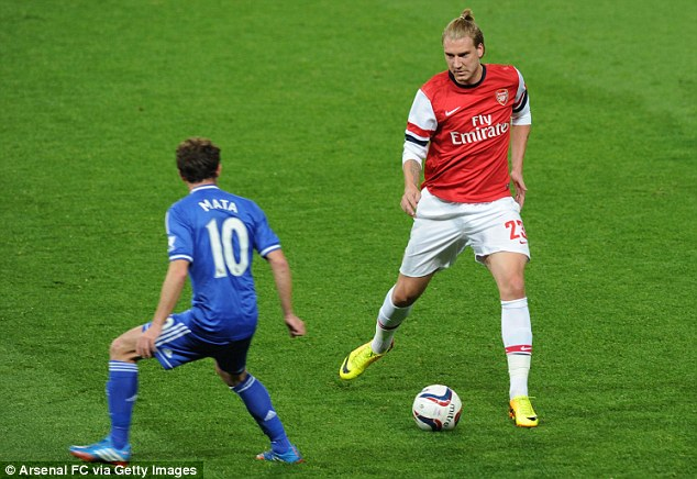 Limited threat: Bendtner failed to muster up a single attempt in Arsenal's defeat at the Emirates