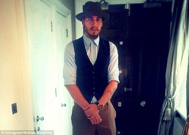 Shopping spree: Bendtner posted this picture after spending his day in Harrods just 48 hours before Arsenal's defeat